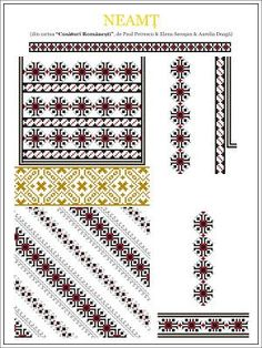 Ie Neamt Semne cusute (grup Fb) Cross Stitch Borders, Cross Stitch Designs, Cross Stitching, Cross Stitch Patterns, Folk Embroidery, Embroidery Stitches, Embroidery Patterns, Knitting Patterns, Blouse Patterns