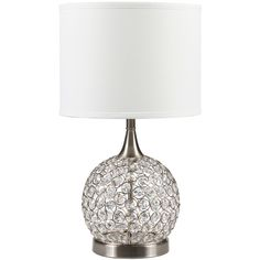 Crystorama White Dauphine Table Lamp ($90) ❤ liked on Polyvore featuring home, lighting, table lamps, white table lamp, crystorama, white lamp, shimmer lights and round lights