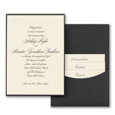 Joyful Details - Invitation with Pewter Pocket - Ecru Shimmer - An elegant way to share all the joyful details of your wedding. This pewter pocket wedding invitation has an ecru shimmer card inside for a rich look. Ivory Wedding Invitations, Discount Wedding Invitations, Beautiful Wedding Invitations, Wedding Stationary, Wedding Invitation Cards, Invitation Ideas, Pocket Invitation, Fine Stationery, Wedding Men