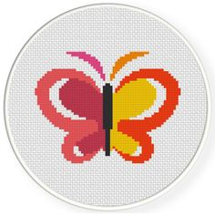 Charts Club Members Only: Abstract Butterfly Cross Stitch Pattern