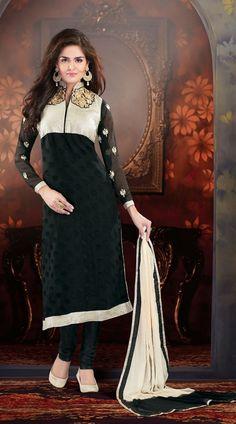 Black Brasso Long Length Churidar Kameez YS1000455