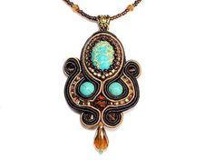 Soutache Pendant Necklace with Sea Sediment Jasper, Turquoise Howlite. Brown Aqua Teal Necklace. Soutache Jewelry. Free shipping Canada USA