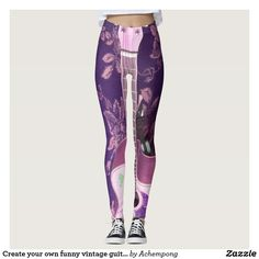 Create your own funny vintage #guitar damask cloth leggings