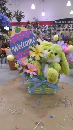 Made some Easter baskets up today...lime green bunny is cute...Robin Evans