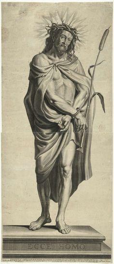 Mattheus Borrekens | Ecce Homo, Mattheus Borrekens, Martinus van den Enden, 1625 - 1670 | Op de voorgrond van de prent staat de 'Ecce Homo', de gegeselde en met een doornenkroon gekroonde Christus. Christus staat op een verhoog waarop Ecce Homo staat geschreven. Hij draagt een gewaad en zijn handen zijn vastgebonden. In zijn rechterhand houdt hij een rietstengel vast als scepter. Hij huilt. De prent heeft een Latijns onderschrift.
