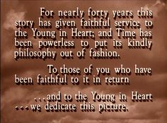 ...and to the Young in Heart- opening screen <3 The Wizard of Oz (1939) | The Film Spectrum