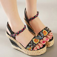 Flower Embroidery Leather National Wind Weave Buckle Peep Toe Platform Sandals is comfortable to wear. Shop on NewChic to see other cheap women sandals on sale. Womens Summer Shoes, Womens High Heels, Very High Heels, Heeled Loafers, Peep Toe Platform, Sandals For Sale, Types Of Shoes, Wedge Sandals, Peeps