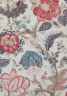 Anna French Kalamkari Blue and Red Fabric - - Palampore Collection French Wallpaper, Fabric Wallpaper, Wallpaper Samples, Textiles, Textile Patterns, Red Fabric, Floral Fabric, Kalamkari Fabric, Anna French