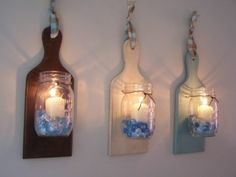Cutting board sconces -- cool party idea!