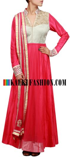 Buy Online from the link below. We ship worldwide (Free Shipping over US$100) http://www.kalkifashion.com/pink-anarkali-suit-embellished-in-mirror-and-zardosi-embroidery-only-on-kalki.html