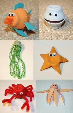 Using egg cartons, you can make . Using egg cartons, you can do recycling jobs with these sea animals. Kids Crafts, Sea Crafts, Summer Crafts, Toddler Crafts, Preschool Crafts, Craft Projects, Arts And Crafts, Paper Crafts, Sea Animal Crafts