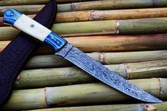 Custom Handmade Damascus Steel Fillet Knife With Leather Sheath Damascus Knife, Damascus Steel, Fish Knife, Fillet Knife, Edc Knife, Handmade Knives, Custom Knives, Knife Making, Everyday Carry