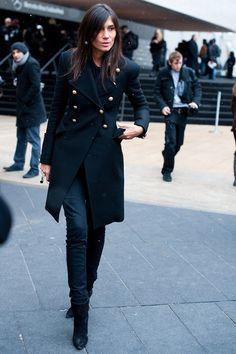 Emmanuelle Alt in Prabal Gurung black double breasted coat and signature black shoes, pants & shirt
