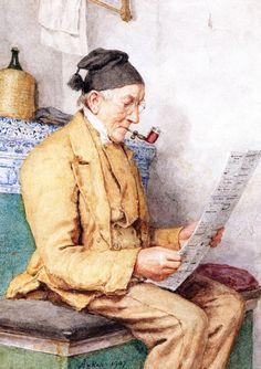 Reading Farmer Sitting by the Tiled Stove (Albert Anker - 1907)