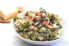 Roasted Broccoli & Bacon Alfredo Shared on https://www.facebook.com/LowCarbZen | #LowCarb #Sides #SideDishes #Veggies