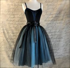 Black and tiffany blue aqua  tutu skirt for by TutusChicBoutique, $165.00