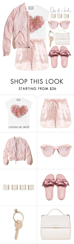 """""""Satin lips"""" by soygabbie ❤ liked on Polyvore featuring WALL, Gucci, Hollister Co., Karen Walker, Luv Aj, Maison Margiela, Givenchy, StreetStyle, NYFW and Spring"""