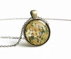 Flower bird necklace pendant