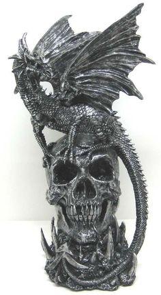 `Draco` Evil Dragon & Skull Statue Fugure Gothic