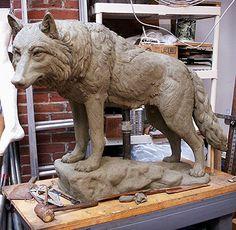 """Wolf"" sculpture by Zenos Frudakis. Work in progress."