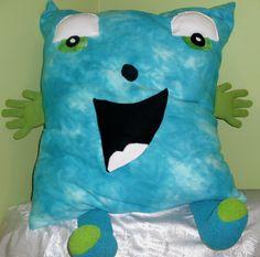 Large lime green, and blue fleece Hug Me novelty pillow. $39.99, via Etsy.