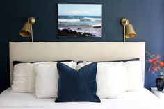 A cozy navy and white master bedroom. Navy White Bedrooms, Ikea Wall Lights, Simple Closet, Closet Designs, Bedroom Inspo, Small Spaces, Master Bedroom, House Design, House Styles