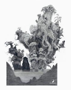 trees and water pencil The Croods Concept Art by Nicolas Weis Bg Design, Prop Design, Graphic Design, Art Environnemental, Concept Art World, Film D'animation, Animation Background, Visual Development, Environment Design
