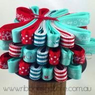 christmas ribbon bundle | red & aqua (7 metres) - $6.12 : Ribbons Galore, your online store for the best ribbons