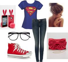 """""""superman"""" leah??  maybe minus the hand bag? Lol! Love that it threw in the new girl phone case!! Haha!"""