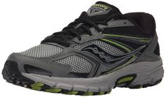Saucony Men's Cohesion Tr9 Trail running Shoe, Grey/Black/LM, 8.5 M US. Technical trail runner featuring breathable mesh underlays and textured rugged overlays. 12mm heel-to-toe drop. Stabilizing Heel Grid System. Added arch support. Trail-specific traction outsole.
