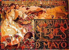 Poster For The Exposición Valenciana. Gran Batalla De Flores by José Mongrell Torrent (1870-1937, Spain)