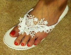 OOAK So Sweet Bride Miranda White Venice Lace Top Wedge Bridal Wedding Flip Flops