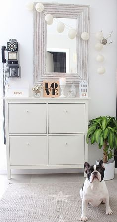A beautifully styled HEMNES shoe cabinet from the Boho Deco Chic blog!