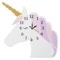 It's so much fun learning to tell time with this Unicorn Wall Clock from Trend Lab. Cut in the shape of a kid-favorite animal design with gold glitter horn, it features large, easy-to-read numbers.