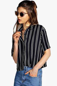 boohoo Ivy Striped Short Sleeve Boxy Shirt
