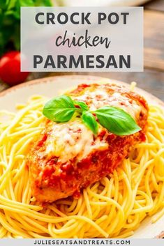 Chicken Parmesan made in your Slow Cooker! Your favorite dinner made easier. You have to try this breaded chicken topped with Mozzarella cheese and spaghetti sauce. It's a family friendly easy dinner recipe that everyone will love! #dinner #recipe Crockpot Spaghetti Recipe, Chicken With Spaghetti Sauce, Easy Holiday Recipes, Instant Pot Dinner Recipes, Easy Dinner Recipes, Winter Recipes, Cooker Recipes, Crockpot Recipes, Chicken And Sausage Jambalaya