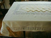 Pale Butter Yellow Madeira Linen Organdy Tablecloth Napkins Set