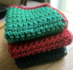 Qty of 3 Handmade Washcloths  / Dishcloths 100% Cotton Greens and Reds Mixed