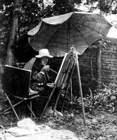 Renoir at work.  Although his hands were deformed from RA, he would tape the brush to his hand to continue painting because he loved it so much.