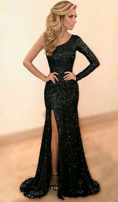 Prom dresses,elegant one shoulder party dresses, sexy evening gowns, sparkling prom dresses, cheap party dresses Homecoming Dresses Black Sequin Prom Dress, Sequin Evening Dresses, Prom Dresses Long With Sleeves, Black Prom Dresses, Mermaid Evening Dresses, Elegant Dresses, Dress Black, Black Sequins, Long Dresses