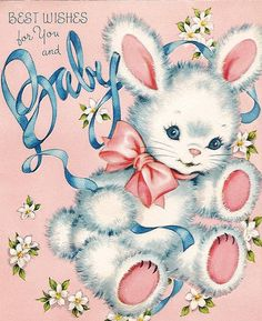Library, Vintage Greeting Cards...For Baby
