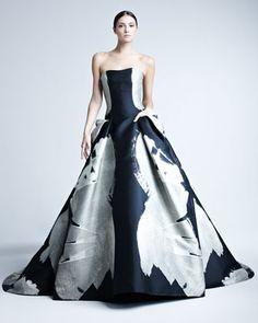 Abstract-Print Jacquard Gown by Carolina Herrera
