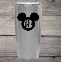 Mickey Mouse Ears with your monogram in vinyl decals. I will create the monogram with. Mickey Mouse Stickers, Disney Mickey Ears, Mickey Mouse Ears, Yeti Decals, Car Decals, Vinyl Decals, Moise, Glitter Shirt, Monogram Decal