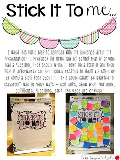 Stick it to me - great for formative assessments, questioning, or show-what-you-knows!