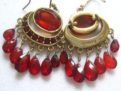 Vtg MONET Red Rhinestone Drop/Dangle Earrings.  by JewelryCapers