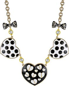 Betsey Johnson - 3 HEART AND BOW NECKLACE BLACK-WHITE #jewelry #jewels #bw