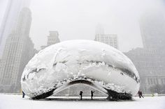 Chicago's Cloud Gate covered in snow and ice
