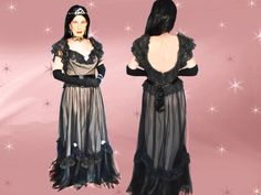Vintage Black Lace & Taffeta Formal - 80s Low Cut Gown - Low Back - Ruffles - Goth Glam Vampire - Halloween - Med/Large by LunaJunctionVintage on Etsy