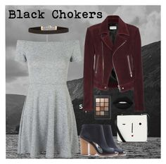"""""""Welcome to the Dark Side - Black Chokers"""" by katiebodlak ❤ liked on Polyvore featuring Topshop, Balenciaga, Forever 21, Lulu Guinness, Lime Crime and Sonia Kashuk"""