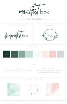 Branding Style Board for Manifest Box | Branding Style Board | Branding | Brand Inspiration | Logo Design | Logo Inspiration | Color Palette | Fonts | Brand Design Inspiration | Creative Entrepreneur | Female Entrepreneur | Small Businesses | - Learn how I made it to 100K in one months with e-commerce!